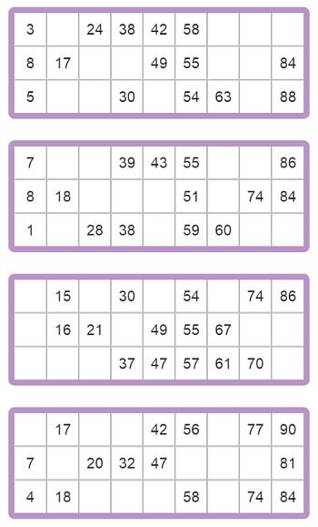 bingokaart voor 90 ballen