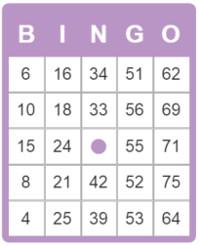 de opzet van een 75 ballen bingokaart