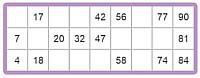 opzet van een 90 ballen bingokaart